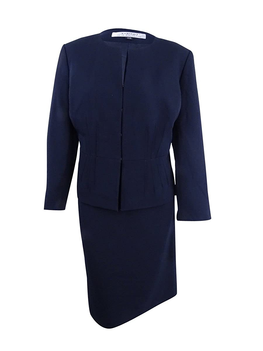 Tahari ASL Women's Plus Size Pintucked Peplum Skirt Suit Navy)