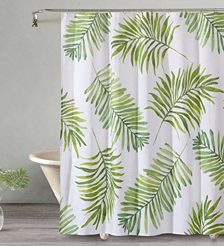 Style Quarters BREEZY PALM Shower Curtain - Green Palm Leaves on White Ground - Beach Resort Feel - 100% Cotton - Buttonhole - Machine Washable - 1pc - 72