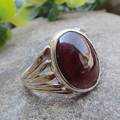 Natural Garnet Sterling Silver Ring Gemstone Handmade Jewelry