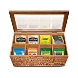 Simply Renewed Tea Box Organizer Chest Decorative Tea Bag Storage Container Bamboo 8 Compartment Box with Magnetic Closure and Ergonomic Front Handle Perfect for Organizing Your Tea Bags