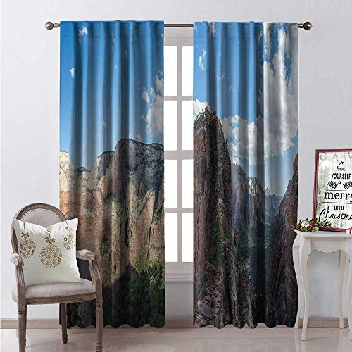 - Hengshu Zion National Park Window Curtain Fabric Hi Adventure Nature Photo of Angels Landing Trail Amazing Sky Drapes for Living Room W72 x L108 Multicolor