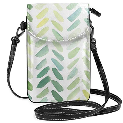 Small Cell Phone Purse For Women Leather Willow Leaves Insides Card Slots Crossbody Bags Wallet Shoulder Bag