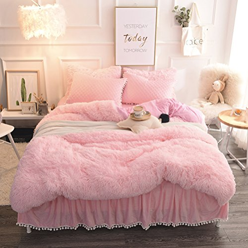 LIFEREVO Luxury Plush Shaggy Duvet Cover Set (1 Faux Fur duvet cover + 2 Pompoms Fringe Pillow Shams) Solid, Zipper Closure (Queen Pink) Pink Fringe Pillow