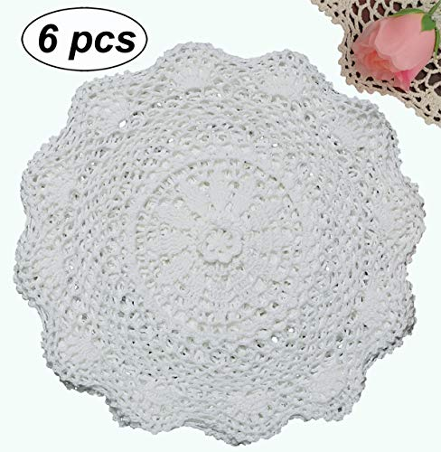 "Creative Linens 6PCS 12"" Round Crochet Lace Doily White 100% Cotton Handmade, Set of 6 Pieces"