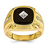 ICE CARATS 14k Yellow Gold Diamond Mens Band Ring Man Fine Jewelry Dad Mens Gift Set