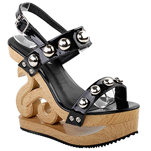 Strappy Platform Black Wooden Sexy Slingback Clogs Look Wedges Show Sandals Metal Story Ball LF30832 pIwcfSq