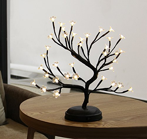 Twinkle Star 16 Inch Cherry Blossom Bonsai Light for Home Festival Party Wedding Christmas Indoor Outdoor Decoration (Artificial Christmas Bonsai Tree)