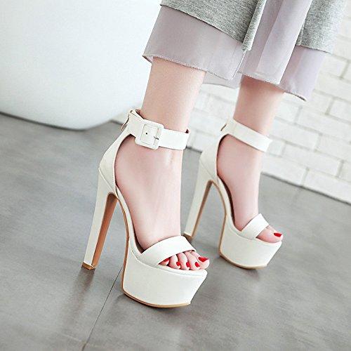 KPHY-Extra High Heels 16Cm Impermeable De Plataformas Tacones Delgados Dedos De Los Pies Verano Sexy Zapatos De Mujer.Treinta Y Ocho Blanco Thirty-eight|white