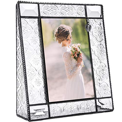 J Devlin Pic 278-46V Picture Frame Clear Vintage Glass Tabletop 4 x 6 Vertical Photo Heart Charm (Heart Charms Glass)