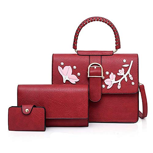 À Messenger Pièces Couture Fleur Broderie Yy3 Jessiekervin Main Bandoulière color Red Sac Mère Brown Trois qxpEzRwB
