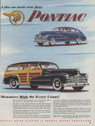 (Measures High on Every Count! Pontiac Station Wagon & Sedan ad 1948 C)