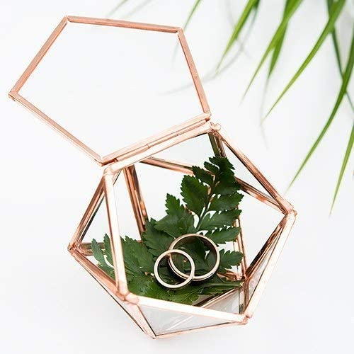 Bella s garden Geometric Terrarium Ring Box for Wedding Ceremony Glass Container Desktop Planter for Succulent Fern Moss Air Plants Holder Miniature Outdoor Fairy Garden Gift Small with lid, Rose