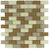 MTO0388 Modern Brick Linear Brown Khaki White Glossy Glass Mosaic Tile