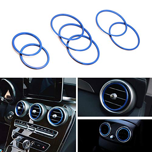 iJDMTOY 7pc Sports Blue Aluminum Air Conditioner Vent/Opening Inner Trim Decoration Covers For 2015-up Mercedes W205 C180 C250 C300 C350 C400 C63 AMG, 2016-up GLC Class, etc (Accessories Mercedes Oem)
