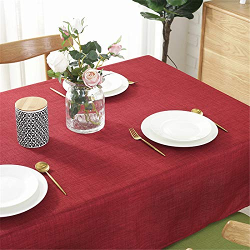 Omelas Wine Red Tablecloths for Square Tables 55″x55″ Solid Color Cotton Linen Fabric Water-Proof Dust-Proof Table Cover for Kitchen Dining Party Tabletop Decoration (Red, Square 55x55in)