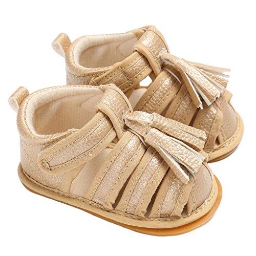 Braided Tassel Gold (lakiolins Baby Girls Strappy Braided Tassel Gladiator Sandals Closed-Toe Beach Flat Shoes Golden Size 11)