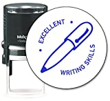 MaxMark Round Teacher Self Inking Stamp - EXCELLENT WRITING SKILLS - Jumbo Series, Style TS312 with Blue Ink