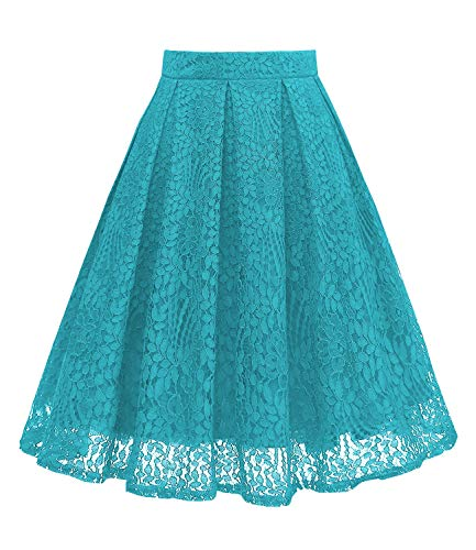 (Girstunm Women High Waist Pleated A-Line Knee Length Lace Pockets Skirt Teal 2XL)