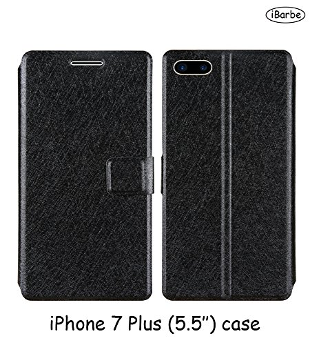 iPhone 7 Plus Wallet Case iBarbe With Free Screen Protector [Not Glass] Magnetic Closure Flip Protective Cover Cases Shock Absorbing Premium Leather Flip Cases For Apple iPhone 7 Plus (Screen Protector Jet)