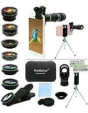 Cell Phone Camera Lens Kit,11 in 1 Universal 20x Telephoto Lens,0.63Wide Angle+15X Macro+198°Fisheye+2X Telephoto+Kaleidoscope+CPL/Starlight/Eyemask/Tripod,for Most iPhone Smartphone