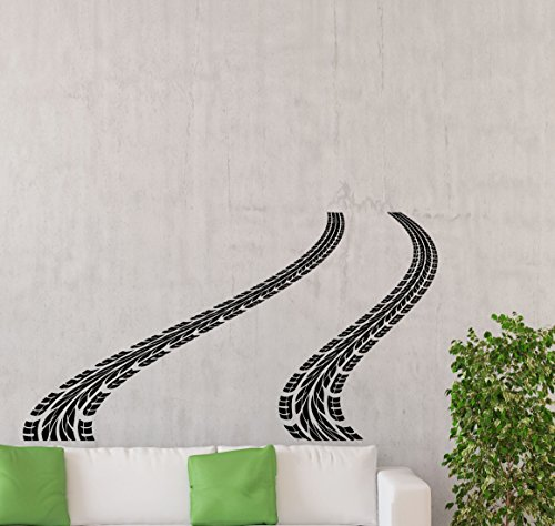 Tire Track Wall Decal Road Car Traces Rally Racing Bed Playroom Gift Vinyl Sticker Home Nursery Kids Baby Room Art Stencil Decor Mural Removable Poster 125ct