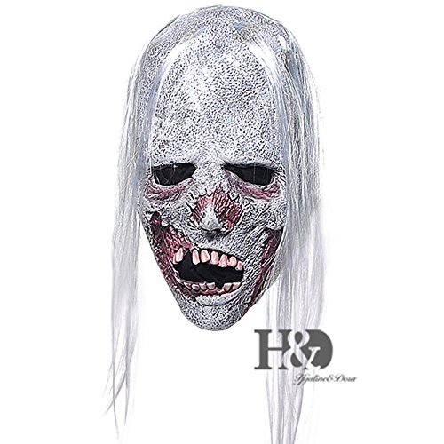 gg White Hair Adult Ghost Latex Halloween Mask Fancy Party Costume Dress (Paper Mache Pumpkin Costume)