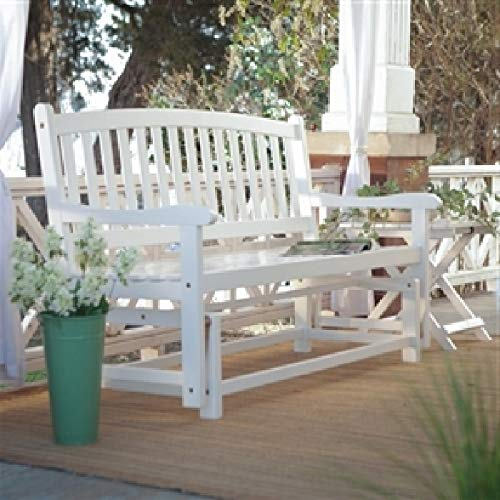 CHOOSEandBUY 4-Ft Outdoor Patio Garden Glider Bench Loveseat in White Wood Garden Bench Patio Outdoor Porch ()