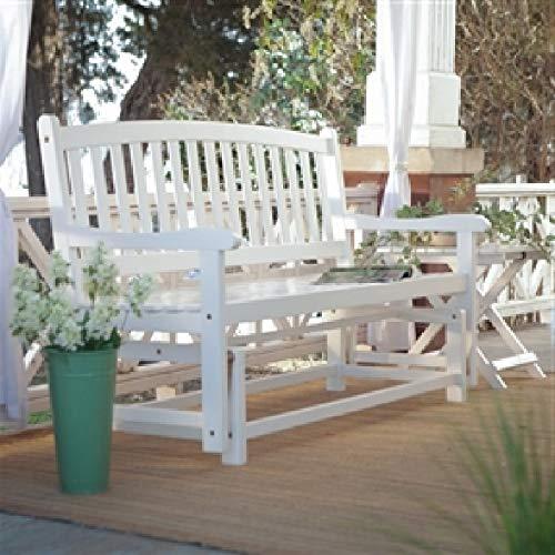 CHOOSEandBUY 4-Ft Outdoor Patio Garden Glider Bench Loveseat in White Wood Garden Bench Patio Outdoor Porch