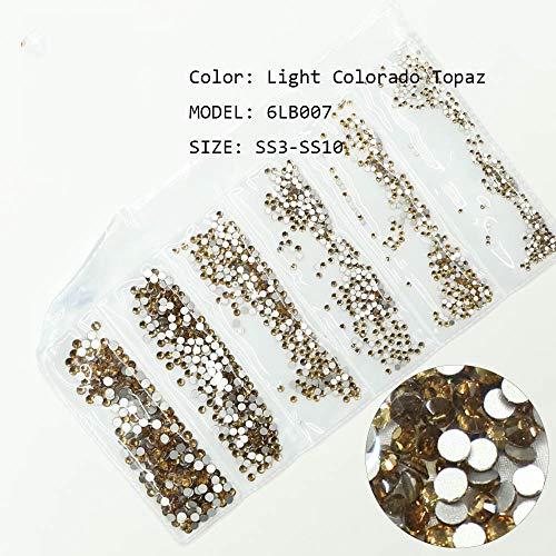1728Pcs 3D Nail Art Decorations Glitter Crystals Ss3-Ss10 Flatback Rhinestones Multi Color Flatback Strass Stones For Nails Art Light Colorado Topaz
