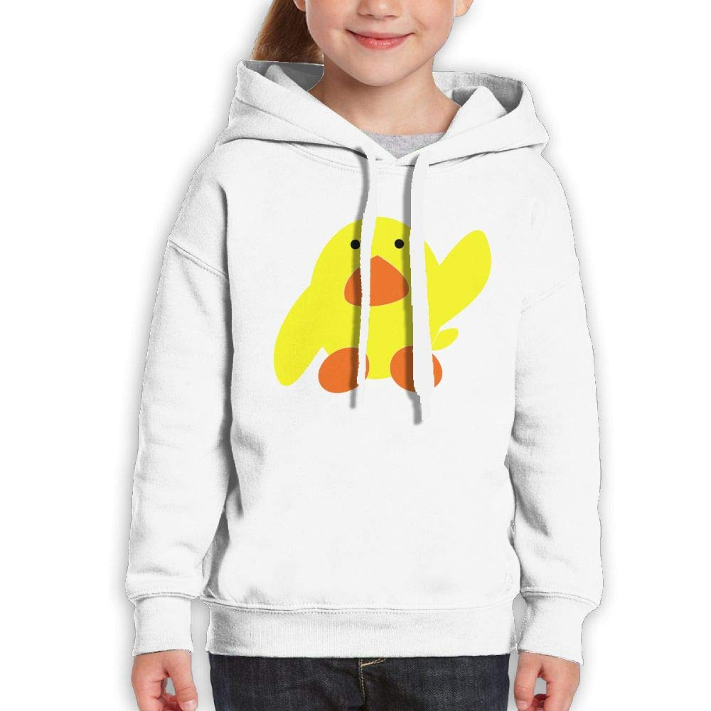 Qiop Nee Cute Yellow Duck Childrens Hoodie Print Long Sleeve Sweatshirt for Girls'