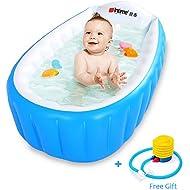 Locisne Baby Inflatable Bathtub Children Anti-slippery Swimming Pool Foldable Travel Air Shower Basin Seat Baths Big Size(For 0-3 Years) air pump