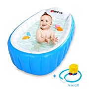 Locisne Baby Inflatable Bathtub Children Anti-slippery Swimming Pool Foldable Travel Air Shower Basin Seat Baths Big Size(For 0-3 Years) + air pump