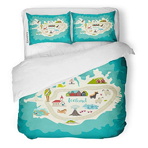 Emvency Decor Duvet Cover Set Twin Size Iceland Map Landmarks Handdrawn of Travel Church Houses Lighthouse and Moss 3 Piece Brushed Microfiber Fabric Print Bedding Set Cover]()