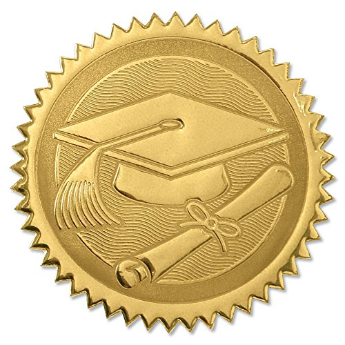 (Embossed Graduation Cap and Diploma Gold Foil Certificate Seals, 2 Inch, Self Adhesive, 102)