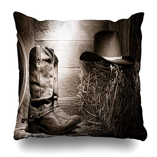 8ba581d6d5b72e Ahawoso Throw Pillow Cover Bale Western American West Rodeo Authentic  Leather Roper Vintage Cowboy Spurs Barn Hat Straw Black Home Decor Pillow  Case Square ...