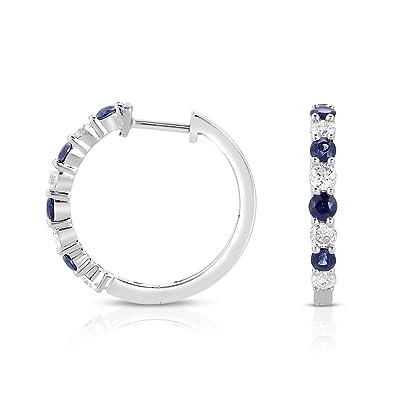 dcd4af1fc Amazon.com: Blue Sapphire and Diamond Hoop Earrings Rhodium Plated 14k  White Gold (HI, I1): Jewelry