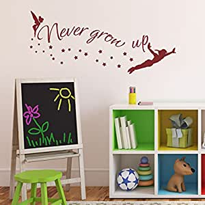 walt disney quote never grow up tinkerbell peter pan sayings vinyl wall decal. Black Bedroom Furniture Sets. Home Design Ideas