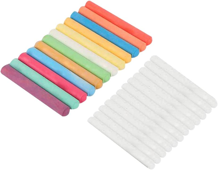 Toyvian Plumas blancas coloridas de la tinta de la tiza de la solubilidad del agua de las tizas sin polvo para la oficina 24pcs del profesor