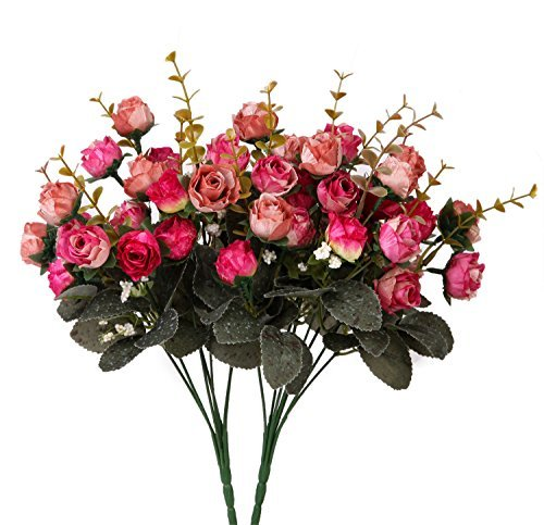 Houda Artificial Silk Fake Flowers Rose Floral Decor Bouquet,Pack of 2 (Rose Coffee)