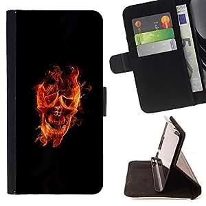 BullDog Case - FOR/LG G2 D800 / - / fire face stuntman heart flames black /- Monedero de cuero de la PU Llevar cubierta de la caja con el ID Credit Card Slots Flip funda de cuer