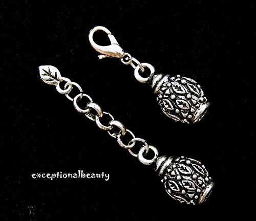 Antiqued Silver Cord Ends Lobster Clasp Connector Fancy Leaf Charm Bead Findings (Lobster Fancy Clasp)