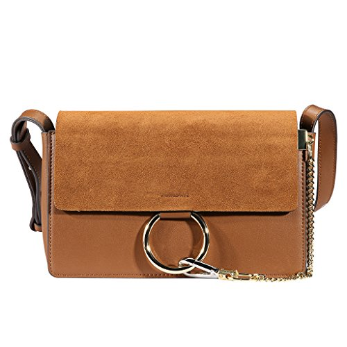lacattura-womens-genuine-leather-chain-nubuck-flap-shoulder-bag-camel