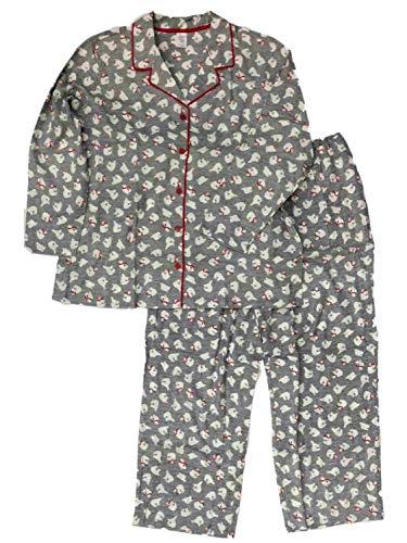 (Womens Gray Polar Bear Print Flannel Pajamas Sleep Set 1X)