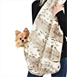 Peluche Plush Designer Snuggle Sling Small Dog Cuddle Carrier (Small (approx 30'' in length), Faux Siberian Leopard)