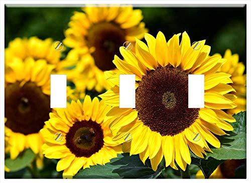 - Switch Plate Triple Toggle - Sunflower Sunflower Field Yellow Summer Flowers