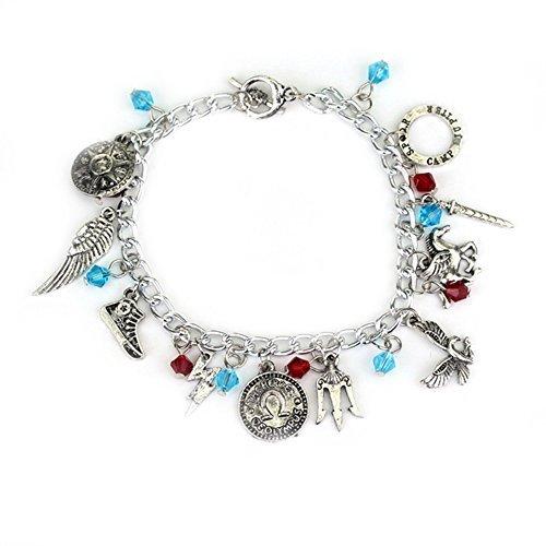 Blue Heron Percy Jackson 10 Logo Charms Toggle Clasp Bracelet w/Gift Box