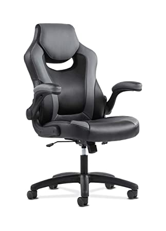 Sadie Racing Gaming Computer Chair- Flip-Up Arms, Black and Gray Leather HVST911