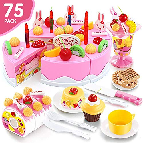 HUASHAN Play Toys for Kids - DIY Cutting Birthday Cake Food Toy Set of 75PCS Plastic Kitchen Cutting Toy Pretend Play Food Assortment Toy Set Birthday Cake for Kids (Style -
