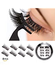 Dual Magnetic Eyelashes 0.2mm Ultra Thin Magnet Lightweight & Easy to Wear Best 3D Reusable Eyelashes Extensions (8 pc with tweezers)