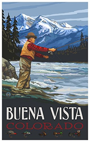 Buena Vista Colorado Fly Fisherman Stream Mountains Travel Art Print Poster by Paul A. Lanquist (12